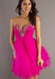 Short Pink Strapless Prom Dress