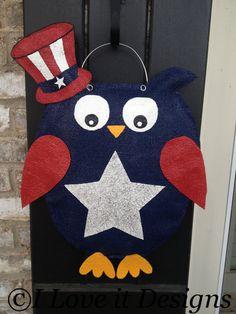 Patriotic Owl Burlap Door Hanger on Etsy, $30.00