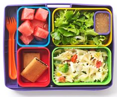 We love this idea! Of course getting the kids to eat what's in the box is another story, but still...pretty cool! kid lunches, pasta salad, lunch boxes, healthy school lunches, cold lunches, green salads, healthy lunches, box lunches, lunch snacks
