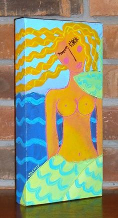 Abstract Mermaid Acrylic and Dimensional Painting by jackieludtke, $75.00