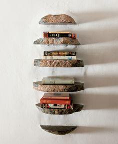 Stone shelves.