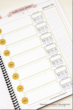 Menu Planner - inspiration idea for my own planner