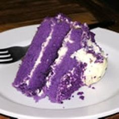 Purple cake        Tommorow night our youngest child will graduate from high school. Since our school colors are purple and white since we are the fighting bulldogs I searched high and low to find a yummy cake that would be perfect for the occasion When I located this recipe here I knew that this recipe would be perfect.              This is a great Filipino purple yam cake    2 1/2 cups cake flour  3 teaspoons baking powder  1 teaspoon salt  1 cup ube (purple yam),