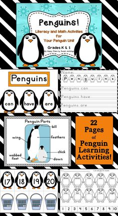Penguins! Thematic Literacy and Math Activities for Kindergarten and First Grade anchor charts, printables, worksheets, writing paper $