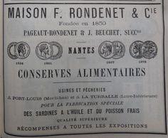 Nantes. Publicité Maison F. Rondenet et Cie, conserves alimentaires. 1882.