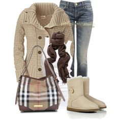 Buttoned Sweater & Burberry Bag, created by casuality on Polyvore