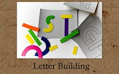 """Letter Building"" busy bag using a cardstock alphabet and foam shapes."