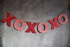XOXO Glitter Banner holiday, idea, valentine day, banner garland, glitter banner, xoxoxo garland, garlands, xoxo glitter, banners