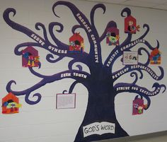 This is a neat idea and a cool tree! Maybe I could put our IGNITE values on it and leaves with action verbs that say how they are carried out! sunday school, bulletin board tree, schools, back to schoolbulletin boards, classroom bulletin boards, bulletin boards with trees, tree bulletin board ideas, preschool bulletin boards, teach