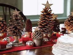 pinecone Christmas trees on candlesticks
