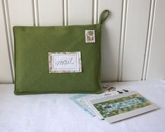 postcards from europe mail organizer green by Tuuni on Etsy