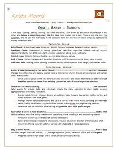 pastry chef resume objective examples sbcc culinary