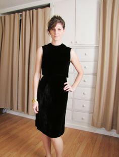 Vintage 1960's Black Velvet Wiggle Dress