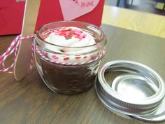 Bake cupcake in small mason jar (12 for 8 dollars at Wal-Mart), decorate with frosting to match holiday or whatever celebration you need. Add a small Woodsies spoon from Joann's, add a cute message and Ta da, a wonderful, transportable treat! Cute idea for teachers.
