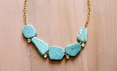 Turquoise Crystal and Gold Statement Necklace by BeadtiqueLA, $33.50