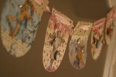 vintage cards turned garland (embellished)