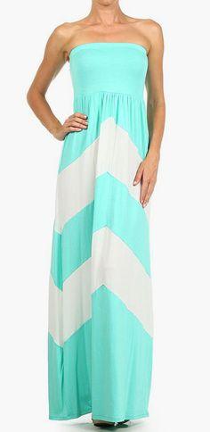 Mint  White Chevron Strapless Maxi Dress