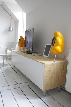 Clean, sleek media console from Besta +  OSB