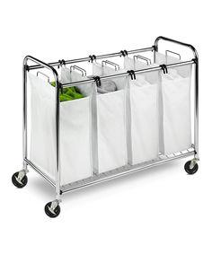 sorter hamper, cloth organ, wheel, basket cart, white