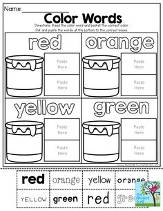 Color Word Practice! TONS of other Back to School resources!