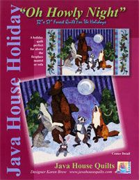 """Oh Howly Night Applique Wallhanging Pattern by Java House Quilts at KayeWood.com. Wall Hanging: 32"""" X 57"""" """"Oh Howly Night"""" features a bear, wolf, raccoon, fox and rabbit singing to the moon, flanked by pine trees. (Full-size applique images are provided.) Beautiful holly vines border the quilt and the pieced background adds a rich night sky.  Traditional or fusible appliqué may be used. http://www.kayewood.com/item/Oh_Howly_Night_Applique_Pattern/3481 $16.50"""