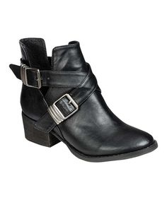 Black Buckle Bronco Ankle Boot