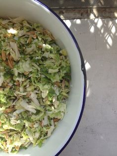 Shaved Brussels Sprouts Salad with Toasted Almonds and Parmesan | Mina ...