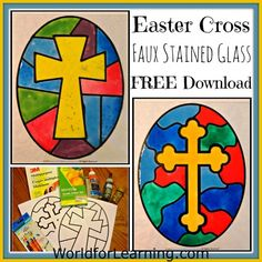 FREE Easter Cross Faux Stained Glass Craft with FREE Printable! Enjoy!