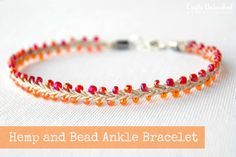 Hemp Jewelry Beaded Summer Ankle Bracelet - looks like a lot of work stringing all the seed beads, but it's a cute design