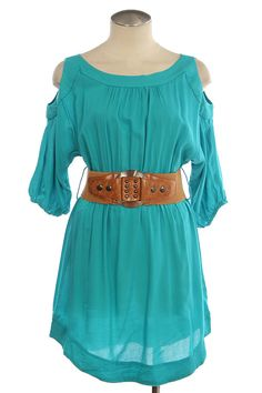 RESTOCKED Turquoise Peek A Boo Shoulder Belted Dress, $34.95