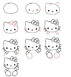 How to Draw Hello Kitty for Kids....