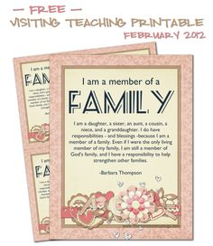 Monthly Visiting Teaching Printables... Free!