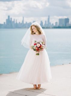 Custom blush gown from Veronica Sheaffer. #bride #dress #gown