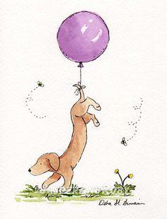 dachshund watercolor $16.00