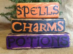 Primitive Country Spells Charms Potions Halloween Shelf Sitter Wood Block Set #HalloweenBlocks