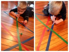 Blowing pompoms along the colored tape lines.  Don't forget to walk the lines too!