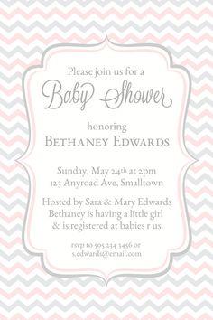 Baby Shower Invitations, Pink Grey Chevron Invitations, Baby Shower Invites, Printable Shower Invitations, Trendy, Modern