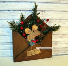 Primitive Folk Art Handmade Country Mouse Doll Christmas Rusty Tin Envelope Primitives photo