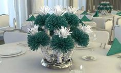 Teal party favour and centrepiece in one