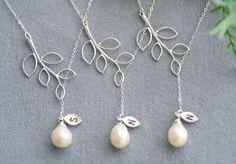 Bridesmaid GiftsSet of 3Branch leaf NecklaceLeaf by tydesign, $105.00