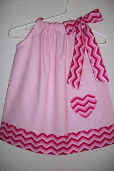 Valentines Day Pillowcase Dress Pink CHEVRON by lilsweetieboutique