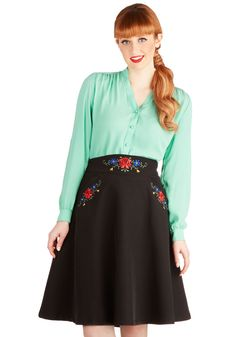 Alpine by Me Skirt. Your vacation among the peaks boasts even more beauty when you don this black skirt from Myrtlewood for an afternoon of sightseeing! #black #modcloth