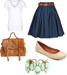 skirt, bracelet, colleg tour, outfit, polyvore