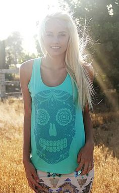 Sugar Skull Tank Top Mint Original Cowgirl Clothing Co.