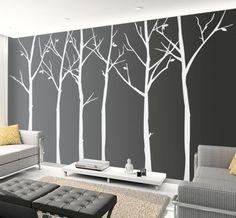 wall art, grey walls, living rooms, tree, wall decals