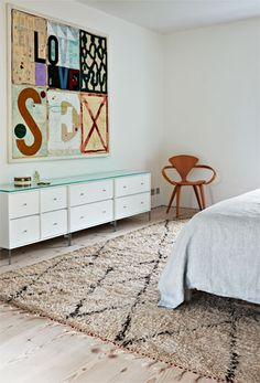Natural Bedroom with Beni Ourain Berber Rug