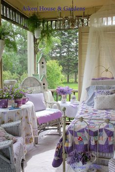 The Summer Porch - Vintage Quilt, White Wicker , and Lilacs ! Aiken House and Gardens  !