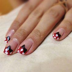 Minnie Mouse French tips by khyatiB - Nail Art Gallery nailartgallery.nailsmag.com by Nails Magazine www.nailsmag.com #nailart