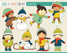 Winter Kids Clip Art - scheme A - color and outlines