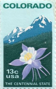 US postage stamp, 13 cents. Colorado, the Centennial state.  Issued 1977, Scott catalog 1711.